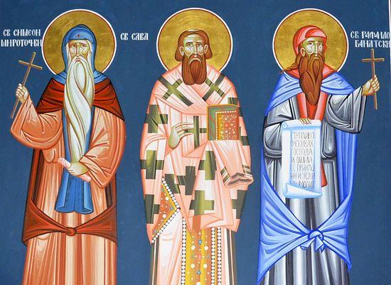 Cв. Симеон Мироточиви, св.Сава и св. Рафаjило Банатски. Фото: jером. Игнатиjе Шестаков